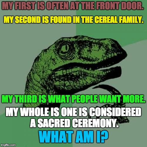 Riddle me this... try and guess! (Riddle week) | MY FIRST IS OFTEN AT THE FRONT DOOR. MY WHOLE IS ONE IS CONSIDERED A SACRED CEREMONY. MY THIRD IS WHAT PEOPLE WANT MORE. MY SECOND IS FOUND  | image tagged in memes,philosoraptor | made w/ Imgflip meme maker