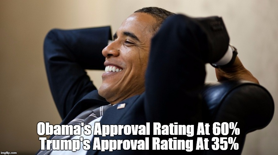 Obama's Approval Rating At 60% Trump's Approval Rating At 35% | made w/ Imgflip meme maker