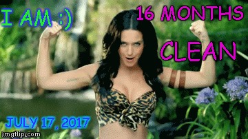 o | 16 MONTHS CLEAN JULY 17, 2017 I AM :) | image tagged in katy perry | made w/ Imgflip meme maker