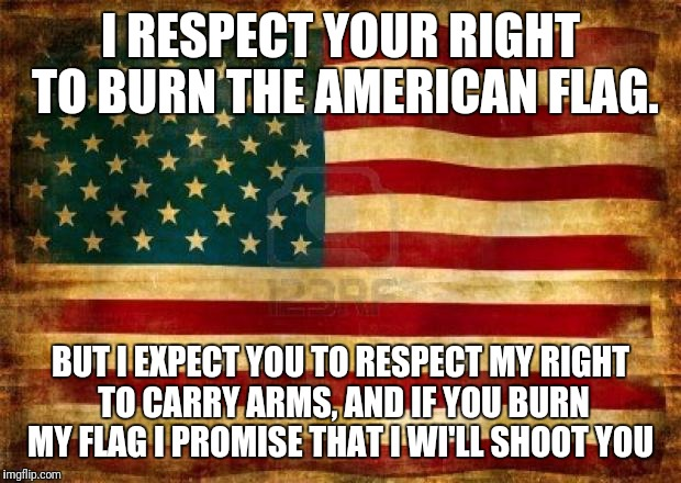 Old American Flag | I RESPECT YOUR RIGHT TO BURN THE AMERICAN FLAG. BUT I EXPECT YOU TO RESPECT MY RIGHT TO CARRY ARMS, AND IF YOU BURN MY FLAG I PROMISE THAT I | image tagged in old american flag | made w/ Imgflip meme maker