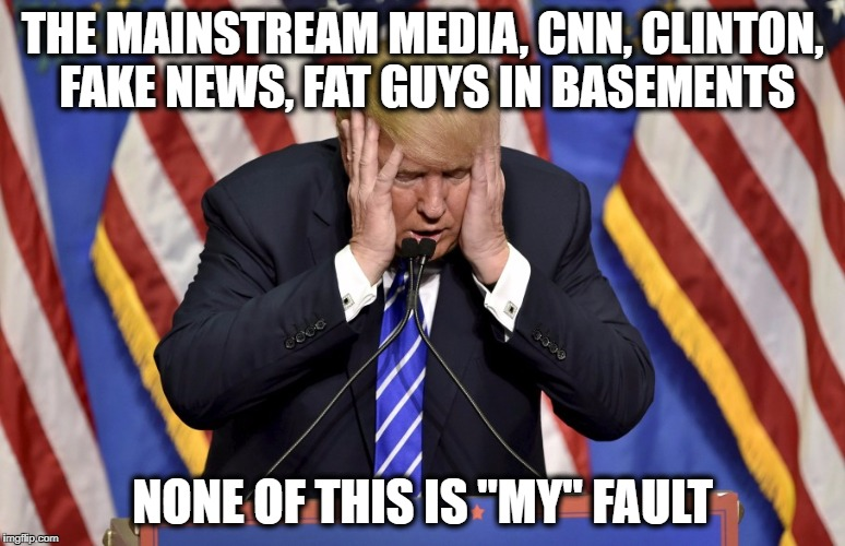 "Cry baby Trump | THE MAINSTREAM MEDIA, CNN, CLINTON, FAKE NEWS, FAT GUYS IN BASEMENTS NONE OF THIS IS ""MY"" FAULT 