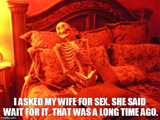 Skeleton in bed  | I ASKED MY WIFE FOR SEX. SHE SAID WAIT FOR IT. THAT WAS A LONG TIME AGO. | image tagged in skeleton in bed | made w/ Imgflip meme maker