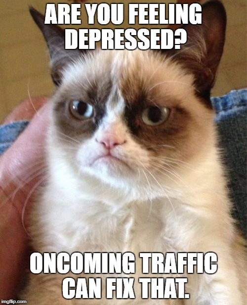 Grumpy Cat Meme | ARE YOU FEELING DEPRESSED? ONCOMING TRAFFIC CAN FIX THAT. | image tagged in memes,grumpy cat | made w/ Imgflip meme maker