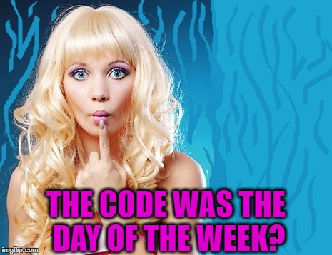 ditzy blonde | THE CODE WAS THE DAY OF THE WEEK? | image tagged in ditzy blonde | made w/ Imgflip meme maker