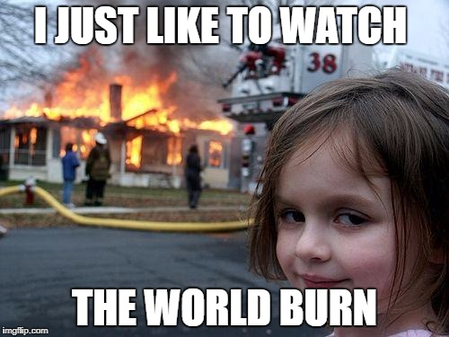Disaster Girl | I JUST LIKE TO WATCH THE WORLD BURN | image tagged in memes,disaster girl | made w/ Imgflip meme maker