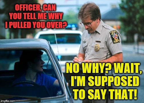 Officer Ticket | OFFICER, CAN YOU TELL ME WHY I PULLED YOU OVER? NO WHY? WAIT, I'M SUPPOSED TO SAY THAT! | image tagged in officer ticket | made w/ Imgflip meme maker