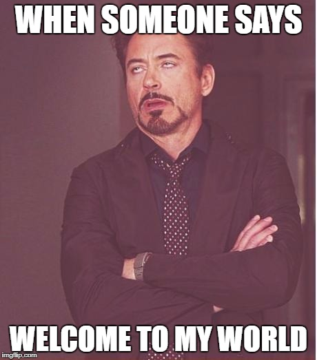 Face You Make Robert Downey Jr Meme | WHEN SOMEONE SAYS WELCOME TO MY WORLD | image tagged in memes,face you make robert downey jr | made w/ Imgflip meme maker