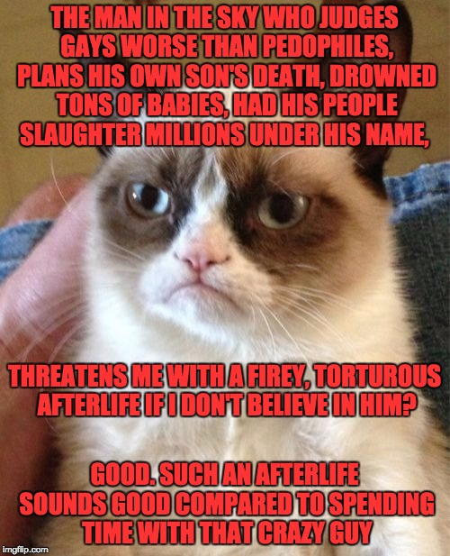 Grumpy Cat Meme | THE MAN IN THE SKY WHO JUDGES GAYS WORSE THAN PEDOPHILES, PLANS HIS OWN SON'S DEATH, DROWNED TONS OF BABIES, HAD HIS PEOPLE SLAUGHTER MILLIO | image tagged in memes,grumpy cat | made w/ Imgflip meme maker