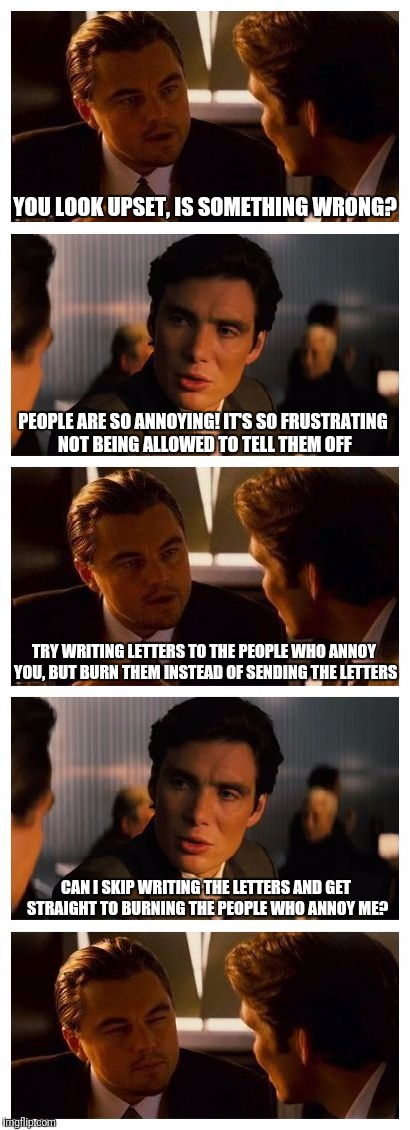 Leonardo Inception (Extended) | YOU LOOK UPSET, IS SOMETHING WRONG? CAN I SKIP WRITING THE LETTERS AND GET STRAIGHT TO BURNING THE PEOPLE WHO ANNOY ME? TRY WRITING LETTERS  | image tagged in leonardo inception extended | made w/ Imgflip meme maker