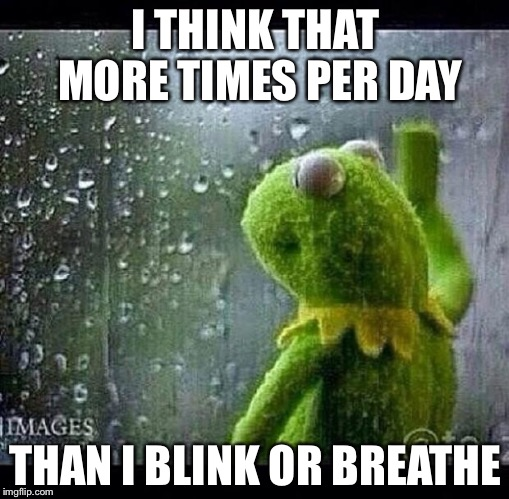 I THINK THAT MORE TIMES PER DAY THAN I BLINK OR BREATHE | made w/ Imgflip meme maker