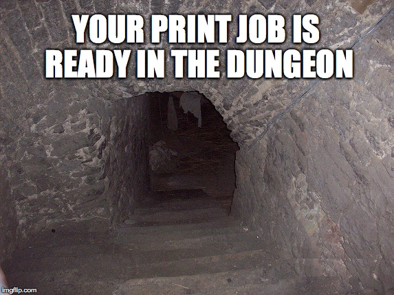 YOUR PRINT JOB IS READY IN THE DUNGEON | image tagged in dungeon | made w/ Imgflip meme maker