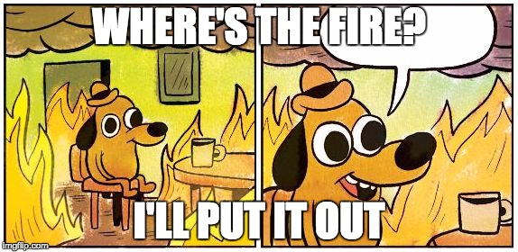 This is Fine (Blank) | WHERE'S THE FIRE? I'LL PUT IT OUT | image tagged in this is fine blank | made w/ Imgflip meme maker