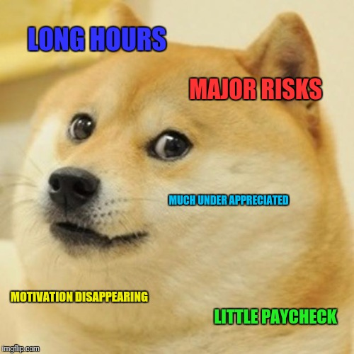 Meanwhile at Work | LONG HOURS MAJOR RISKS MUCH UNDER APPRECIATED MOTIVATION DISAPPEARING LITTLE PAYCHECK | image tagged in memes,doge | made w/ Imgflip meme maker