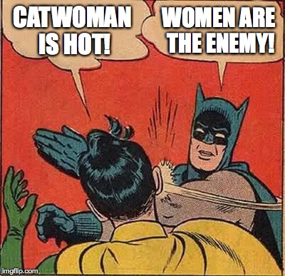 Batman Slapping Robin Meme | CATWOMAN IS HOT! WOMEN ARE THE ENEMY! | image tagged in memes,batman slapping robin | made w/ Imgflip meme maker
