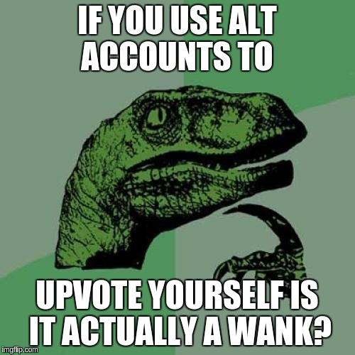 Philosoraptor Meme | IF YOU USE ALT ACCOUNTS TO UPVOTE YOURSELF IS IT ACTUALLY A WANK? | image tagged in memes,philosoraptor | made w/ Imgflip meme maker
