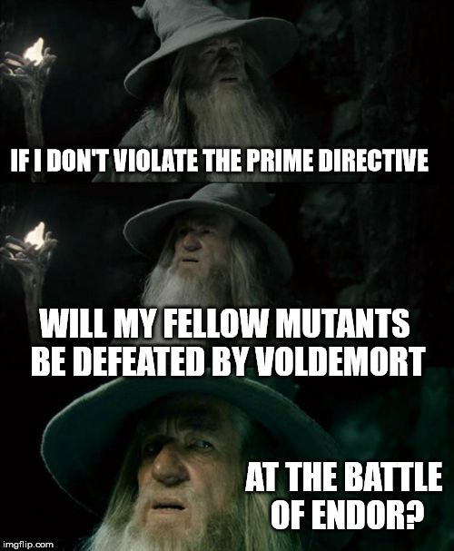 IF I DON'T VIOLATE THE PRIME DIRECTIVE AT THE BATTLE OF ENDOR? WILL MY FELLOW MUTANTS BE DEFEATED BY VOLDEMORT | made w/ Imgflip meme maker
