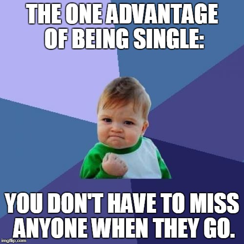 Single pringle | THE ONE ADVANTAGE OF BEING SINGLE: YOU DON'T HAVE TO MISS ANYONE WHEN THEY GO. | image tagged in memes,success kid,single,funny,truth | made w/ Imgflip meme maker