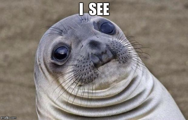 Awkward Moment Sealion Meme | I  SEE | image tagged in memes,awkward moment sealion | made w/ Imgflip meme maker