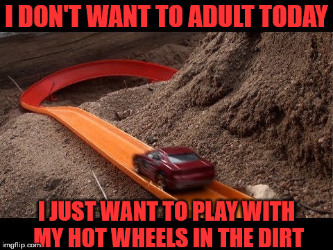 Hot Wheel Adult | I DON'T WANT TO ADULT TODAY I JUST WANT TO PLAY WITH MY HOT WHEELS IN THE DIRT | image tagged in hot wheels,adult | made w/ Imgflip meme maker