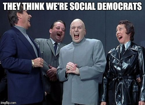 Laughing Villains Meme | THEY THINK WE'RE SOCIAL DEMOCRATS | image tagged in memes,laughing villains | made w/ Imgflip meme maker