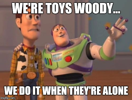 X, X Everywhere Meme | WE'RE TOYS WOODY... WE DO IT WHEN THEY'RE ALONE | image tagged in memes,x,x everywhere,x x everywhere | made w/ Imgflip meme maker
