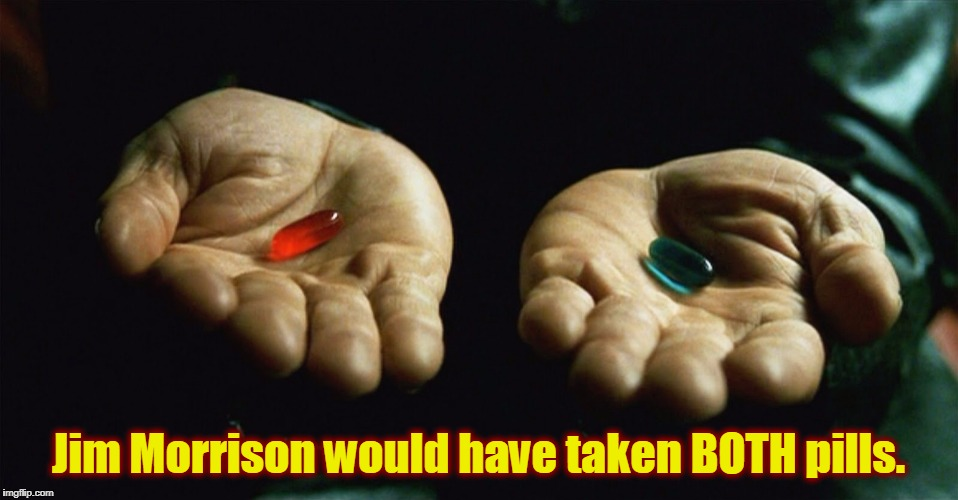I wonder what would have happened? | Jim Morrison would have taken BOTH pills. | image tagged in red pill blue pill,memes,funny,mxm | made w/ Imgflip meme maker