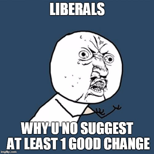 Y U No Meme | LIBERALS WHY U NO SUGGEST AT LEAST 1 GOOD CHANGE | image tagged in memes,y u no | made w/ Imgflip meme maker