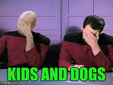 double palm | KIDS AND DOGS | image tagged in double palm | made w/ Imgflip meme maker