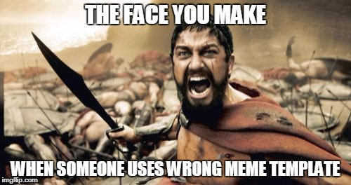 Sparta Leonidas Meme | THE FACE YOU MAKE WHEN SOMEONE USES WRONG MEME TEMPLATE | image tagged in memes,sparta leonidas | made w/ Imgflip meme maker