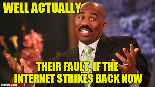 Steve Harvey Meme | WELL ACTUALLY THEIR FAULT, IF THE INTERNET STRIKES BACK NOW | image tagged in memes,steve harvey | made w/ Imgflip meme maker