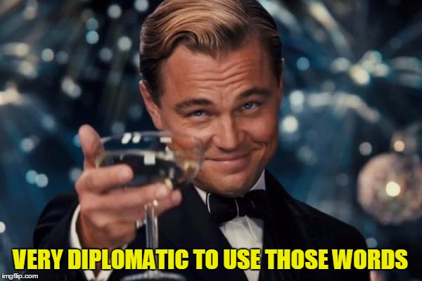 Leonardo Dicaprio Cheers Meme | VERY DIPLOMATIC TO USE THOSE WORDS | image tagged in memes,leonardo dicaprio cheers | made w/ Imgflip meme maker