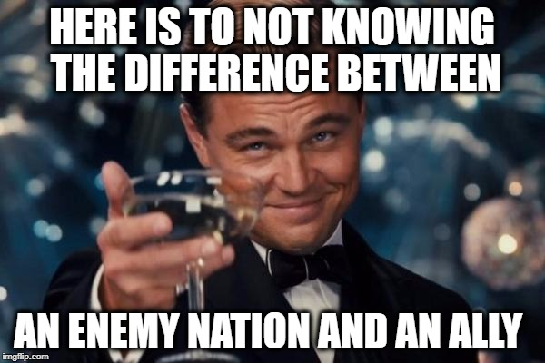 Leonardo Dicaprio Cheers Meme | HERE IS TO NOT KNOWING THE DIFFERENCE BETWEEN AN ENEMY NATION AND AN ALLY | image tagged in memes,leonardo dicaprio cheers | made w/ Imgflip meme maker