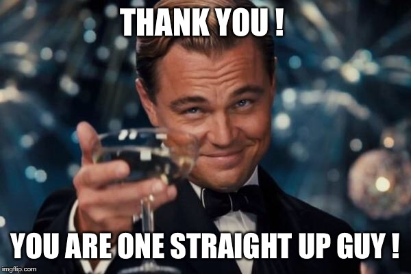 Leonardo Dicaprio Cheers Meme | THANK YOU ! YOU ARE ONE STRAIGHT UP GUY ! | image tagged in memes,leonardo dicaprio cheers | made w/ Imgflip meme maker