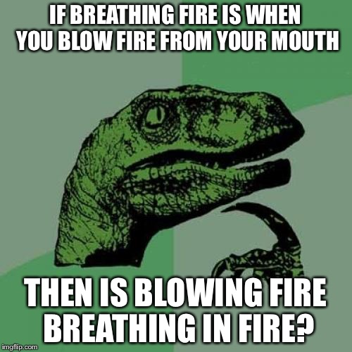 Philosoraptor Meme | IF BREATHING FIRE IS WHEN YOU BLOW FIRE FROM YOUR MOUTH THEN IS BLOWING FIRE BREATHING IN FIRE? | image tagged in memes,philosoraptor | made w/ Imgflip meme maker
