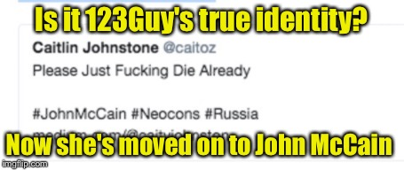 Sounds like 123Guy... | Is it 123Guy's true identity? Now she's moved on to John McCain | image tagged in memes,nsfw,john mccain,123guy | made w/ Imgflip meme maker