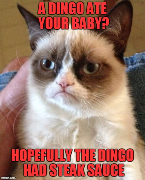 Grumpy Cat Meme | A DINGO ATE YOUR BABY? HOPEFULLY THE DINGO HAD STEAK SAUCE | image tagged in memes,grumpy cat | made w/ Imgflip meme maker