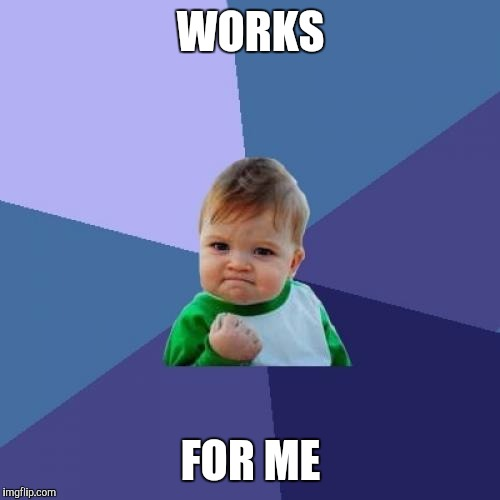 Success Kid Meme | WORKS FOR ME | image tagged in memes,success kid | made w/ Imgflip meme maker