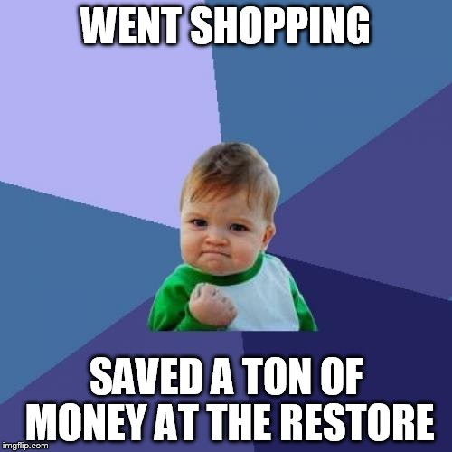 Success Kid Meme | WENT SHOPPING SAVED A TON OF MONEY AT THE RESTORE | image tagged in memes,success kid | made w/ Imgflip meme maker
