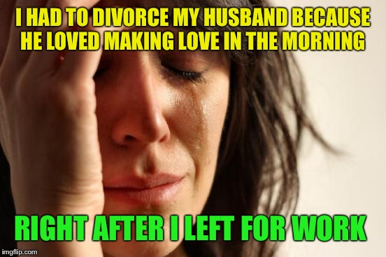 Feel like making love  | I HAD TO DIVORCE MY HUSBAND BECAUSE HE LOVED MAKING LOVE IN THE MORNING RIGHT AFTER I LEFT FOR WORK | image tagged in memes,first world problems,funny | made w/ Imgflip meme maker