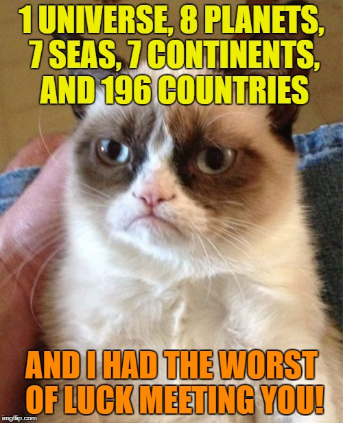 Grumpy Cat Meme | 1 UNIVERSE, 8 PLANETS, 7 SEAS, 7 CONTINENTS, AND 196 COUNTRIES AND I HAD THE WORST OF LUCK MEETING YOU! | image tagged in memes,grumpy cat | made w/ Imgflip meme maker