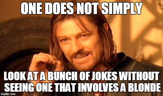 One Does Not Simply Meme | ONE DOES NOT SIMPLY LOOK AT A BUNCH OF JOKES WITHOUT SEEING ONE THAT INVOLVES A BLONDE | image tagged in memes,one does not simply | made w/ Imgflip meme maker