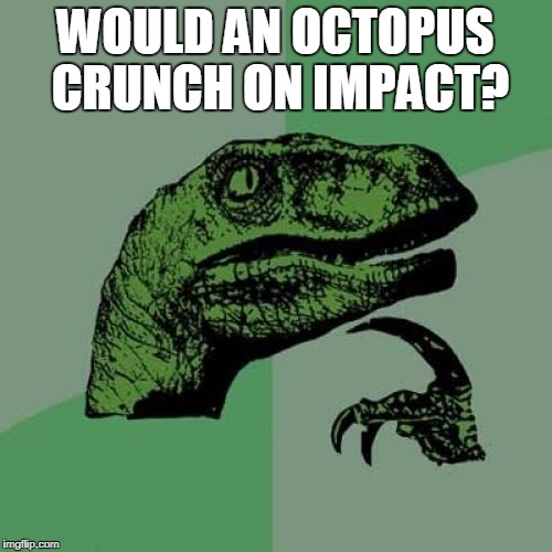 Philosoraptor Meme | WOULD AN OCTOPUS CRUNCH ON IMPACT? | image tagged in memes,philosoraptor | made w/ Imgflip meme maker