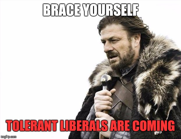 Brace Yourselves X is Coming Meme | BRACE YOURSELF TOLERANT LIBERALS ARE COMING | image tagged in memes,brace yourselves x is coming | made w/ Imgflip meme maker