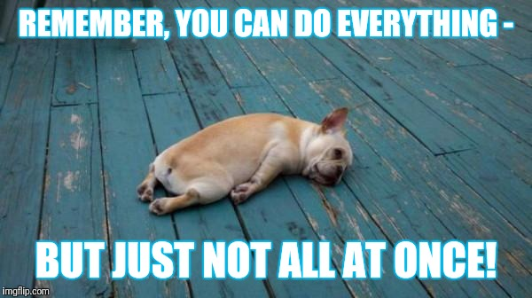 tired dog | REMEMBER, YOU CAN DO EVERYTHING - BUT JUST NOT ALL AT ONCE! | image tagged in tired dog | made w/ Imgflip meme maker