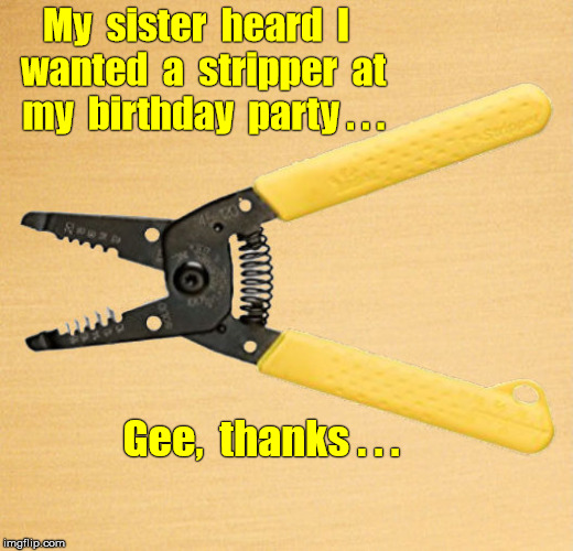 Sister got stripper for brother's party | My  sister  heard  I  wanted  a  stripper  at  my  birthday  party . . . Gee,  thanks . . . | image tagged in wire stripper,bad gift,first world problems,memes | made w/ Imgflip meme maker