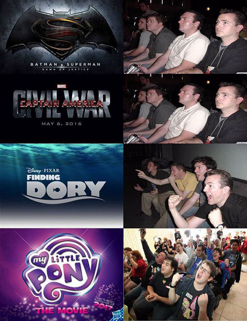 Meanwhile, at the fanbase | superman v batmancaptain america civil warfinding dorymy little pony, the movie | image tagged in batman v superman,captain america civil war,finding dory,my little pony,memes | made w/ Imgflip meme maker