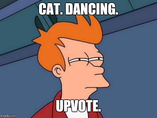Futurama Fry Meme | CAT. DANCING. UPVOTE. | image tagged in memes,futurama fry | made w/ Imgflip meme maker