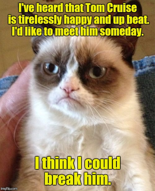 Grumpy Cat Meme | I've heard that Tom Cruise is tirelessly happy and up beat. I'd like to meet him someday. I think I could break him. | image tagged in memes,grumpy cat | made w/ Imgflip meme maker