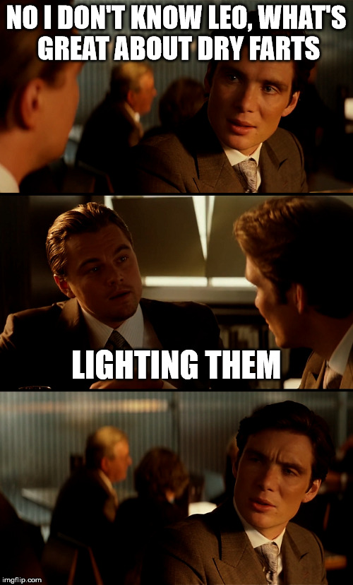 inception | NO I DON'T KNOW LEO, WHAT'S GREAT ABOUT DRY FARTS LIGHTING THEM | image tagged in farts,inception,funny meme | made w/ Imgflip meme maker
