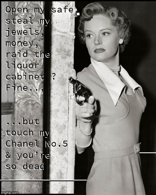 Touch my Chanel & you are so dead | . | image tagged in alexis smith,babes,funny,2nd amendment,girls with guns,politics lol | made w/ Imgflip meme maker